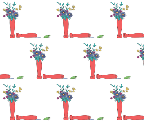 rain boot garden with frog  fabric by _denise on Spoonflower - custom fabric