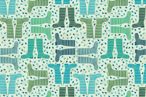 Splashy Wellies fabric by jillodesigns on Spoonflower - custom fabric