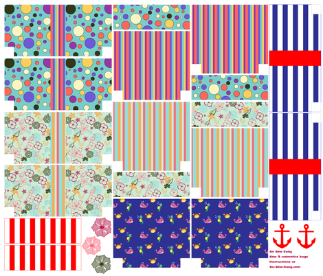 So Sew Easy - 3 cosmetics bags templates fabric by debycoles on Spoonflower - custom fabric