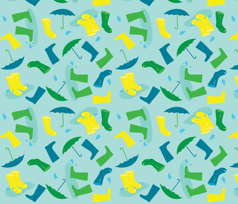 WelliesAndBrellies fabric by bluebirdworkshop on Spoonflower - custom fabric
