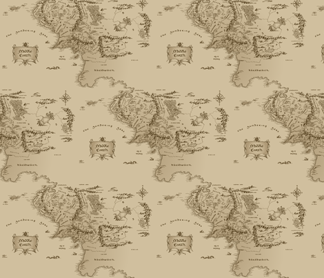 Map Of Middle Earth Large Repeat Fabric Fandomfabric