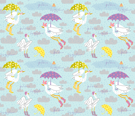 Wellies + Umbrellies! fabric by pattyryboltdesigns on Spoonflower - custom fabric