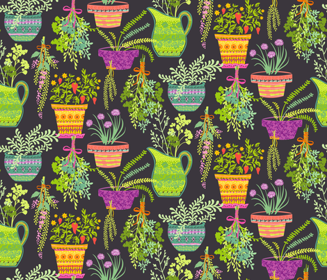 Organic Fruitation Herbs: Gray fabric by sheri_mcculley on Spoonflower - custom fabric