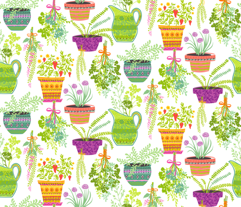 Organic Fruitation Herbs: White fabric by sheri_mcculley on Spoonflower - custom fabric