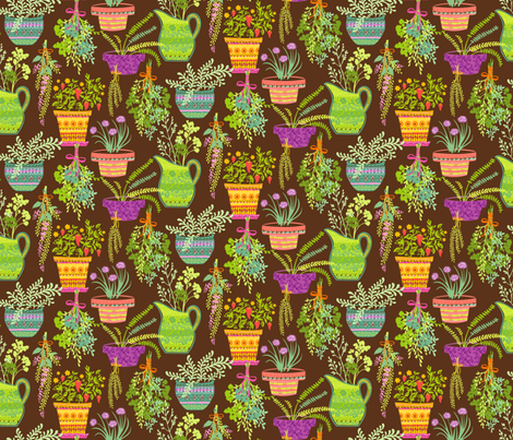 Organic Fruitation Herbs: Brown fabric by sheri_mcculley on Spoonflower - custom fabric