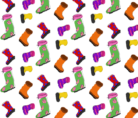Sketchy Rubber Boots fabric by art_rat on Spoonflower - custom fabric