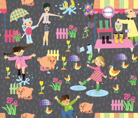 botas_en_la_lluvia-1-01 fabric by maribel on Spoonflower - custom fabric