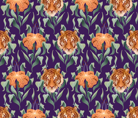 Tiger Lilies Damask fabric by logan_spector on Spoonflower - custom fabric