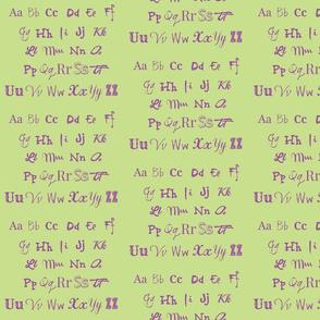 The Alphabet-Green & Purple
