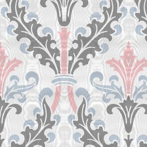 The Damask Divine ~ Dauphine, Versailles Blue and Pewter ~ Moire