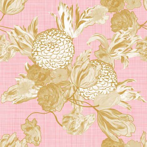 Mid Century Modern Floral ~ Gilt on Dauphine ~ Linen fabric by peacoquettedesigns on Spoonflower - custom fabric
