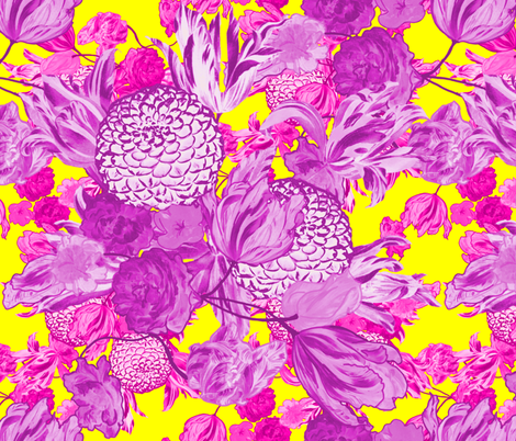 Mid Century Modern Floral ~ Orchid and Fuchsia on La! Yellow fabric by peacoquettedesigns on Spoonflower - custom fabric