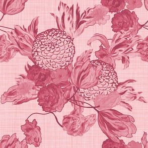 Mid Century Modern Floral ~Berry and Dauphine ~ Linen