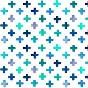 Blue Cross Pattern on white