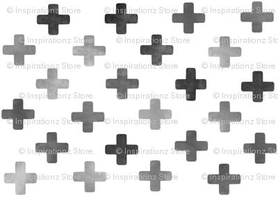 Swiss Cross Pattern - Grey on white
