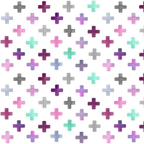 Swiss Cross Pattern - purple on white fabric by inspirationz on Spoonflower - custom fabric