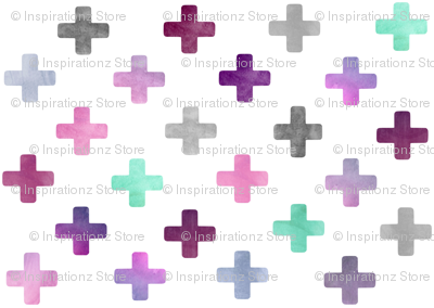 Swiss Cross Pattern - purple on white