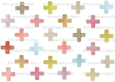 Swiss Cross / Plus pattern - pastels on white