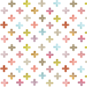 Swiss Cross / Plus pattern - pastels on white