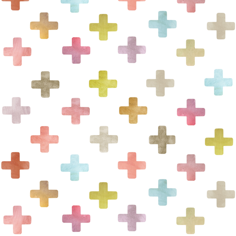 Swiss Cross / Plus pattern - pastels on white fabric by inspirationz on Spoonflower - custom fabric