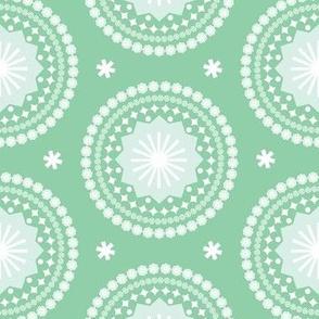 Bandana* (Green Stamps) || pastel scarf handkerchief stars starburst circles flowers fireworks geometric western mandala
