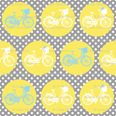 Large Bicycle Spots Birds Yellow Grey