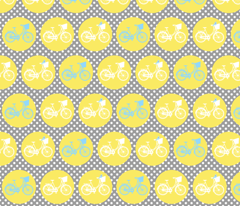 Large Bicycle Spots Birds Yellow Grey fabric by lovelyjubbly on Spoonflower - custom fabric