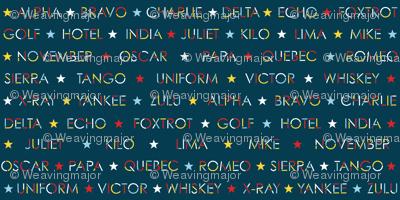 Nautical alphabet in Sailing colors