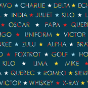 Nautical alphabet in Sailing colors