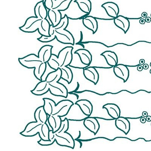 Herb border - 12 inch - dkgreenblue-pattern-on-white-12x60-rotate