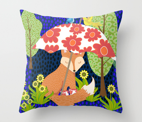 Fox in the Evening Rain Pillow