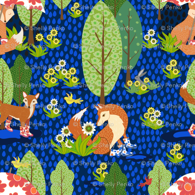 Evening Foxes in Galoshes