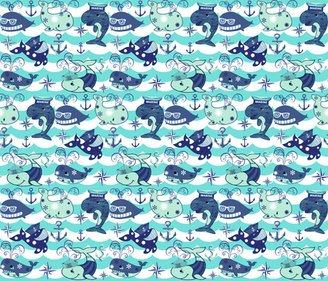NAUTICAL BLUE WHALES fabric by bluevelvet on Spoonflower - custom fabric