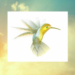 Hummingbird flight FQ pillow front