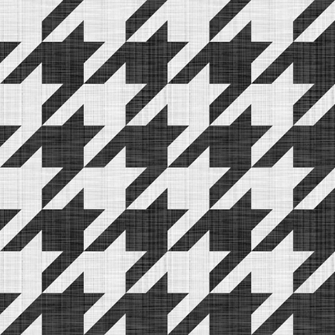 Linen Luxe ~ The Houndstooth Check ~ Black and White fabric by peacoquettedesigns on Spoonflower - custom fabric