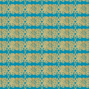 Gold Weave Border on Teal.