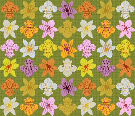 Lily and fleur de lis color study fabric by mongiesama on Spoonflower - custom fabric