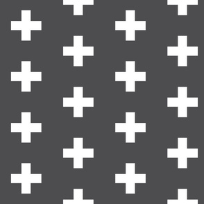 Crosses on Charcoal - Charcoal Plus Signs