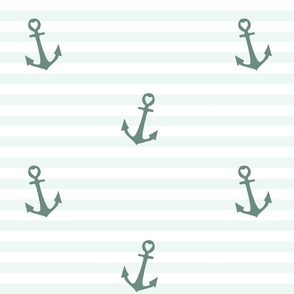 Nautical Nursery: Teal Anchors on Stripes