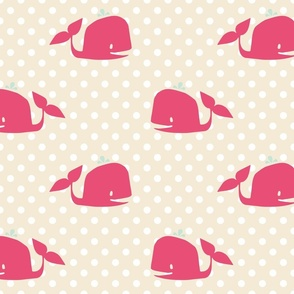 Nautical Nursery: Pink Whales on Polka Dots