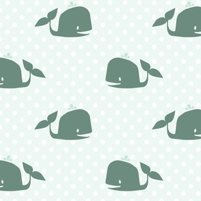 Nautical Nursery: Teal Whales on Polka Dots