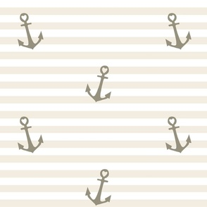 Nautical Nursery: Grey Anchors on Stripes