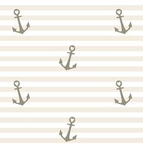 Nautical Nursery: Grey Anchors on Stripes