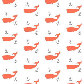Coral Whales with Grey Anchors