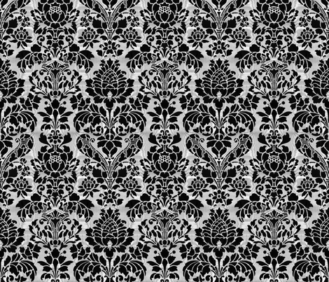 Balmoral Damask ~ Moire ~ Black and White fabric by peacoquettedesigns on Spoonflower - custom fabric