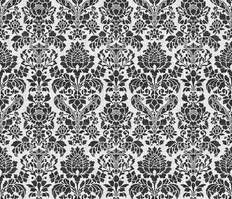 Balmoral Damask ~ Linen Luxe ~ White on Black fabric by peacoquettedesigns on Spoonflower - custom fabric