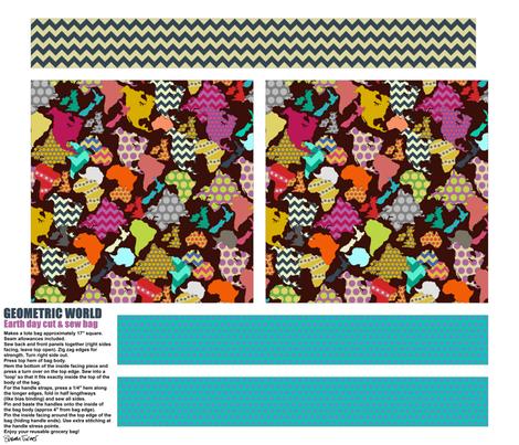 GEOMETRIC WORLD EARTH DAY TOTE BAG fabric by scrummy on Spoonflower - custom fabric