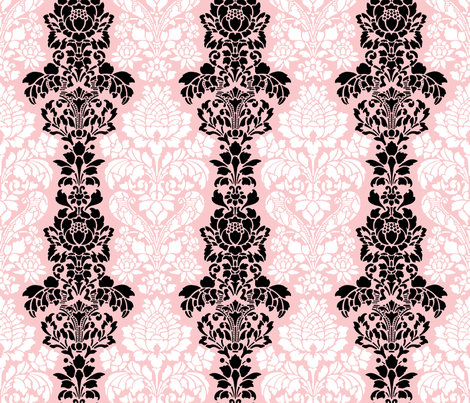 Balmoral Damask ~ Black and White on Dauphine  fabric by peacoquettedesigns on Spoonflower - custom fabric