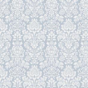 Balmoral Damask ~ Linen Luxe ~ White on Versailles Fog