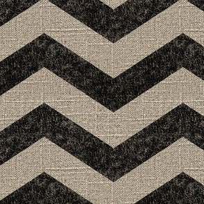 Large Chevron in Black on Linen